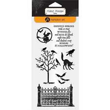 HAMPTON ARTS GHOSTLY GOBLINS  Halloween Clear Stamps Bats, Cats, Witch, Ravens