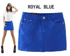 Women's Candy Colored Club Sexy Mini Denim Skirts Short Wrapped Skirt Jean Skirt