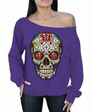 Sugar Skull Roses Off The Shoulder Oversized Slouchy Sweater Sweatshirt Tattoo