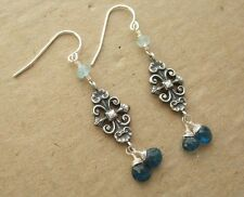 Silver Vintage French Victorian Swirl Apatite Aquamarine Drop Dangle Earrings
