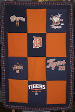 Detroit Tigers Upcycled T-shirt Crib size Quilt or Wall Hanging MLB baseball