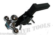 "3-BALL Tri Swivel Adjustable Drop Turn Trailer Tow Hitch Mount for 2"" Receiver"