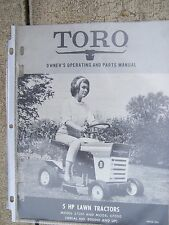 1968 Toro Lawn Tractor 5 HP  57001  57050 Owner & Parts Manual MORE IN STORE  R