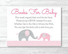 Pink Chevron Elephant Printable Baby Shower Book Request Cards