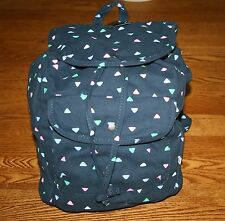 NWT Abercrombie Classic Girl's Backpack  book bag tote Navy w colorful triangles