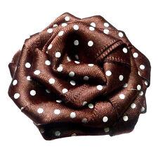 pince barrette cheveux femme Fleur Marron satin rétro chic polka dots pois blanc