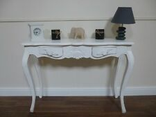 French Console Table With 2 Drawers - Handmade & Hand Carved In White