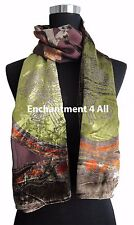 Elegant 100% Silk Burnout Velvet Floral Oblong Scarf Wrap, Brown/Green