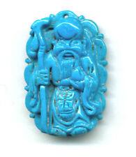 NACOZARI TURQUOISE HAND-CARVED BUDDHA PENDANT BEAD
