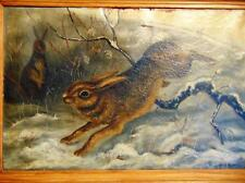Oil on canvas by N.R. Topping, dated 1851, of well executed rabbits in... Lot 93