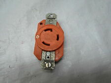 Used: Hubbell 30A Twist Lock Receptacle 125V, Orange in color
