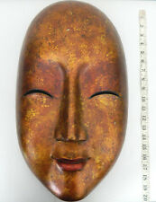 Large Beautiful Wood Painted Artisan Crafted Oriental Mask Wall Art Hand Carved