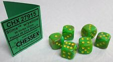 *SIX* 12mm DICE - CHX VORTEX SLIME w/YELLOW PIPS - NEW COLOR IN SMALLER SIZE!