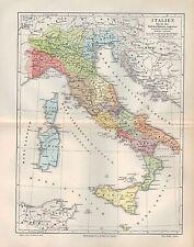Landkarte map 1908: ITALIEN bis in die Zeit des Kaisers Augustus. Itlia Italy