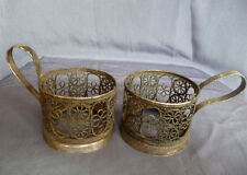 50s VTG PODSTAKANNIK SOVIET FILIGREE SET 2 LACE FLORAL TEA GLASS HOLDER RUSSIAN