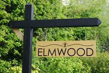 Double Sided Personalised Hanging Sign Engraved Oak Wooden Gallows house drive