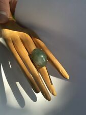 R7 antique JADEITE RING natural un-treated GREEN/WHIT size 6.5 STERLING/14k JAPN