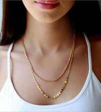 New Design Bohemian Women Gold Plated Double Layer Metal Chain Necklace Jewelry