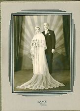 Vintage 1930's Art Deco Style Picture Frame w/ Wedding Photo