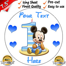 "1st FIRST BIRTHDAY BOYS BABY MINNIE Edible Icing Cake Topper 7.5"" Round Pre-cut"