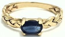 GENUINE 0.63 Cts BLUE SAPPHIRE ROPE STYLE RING 14k Yellow Gold *FREE APPRAISAL