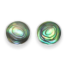 Funky 925 Sterling Silver 10mm Round Abalone / Paua Shell Stud Earrings - Boxed