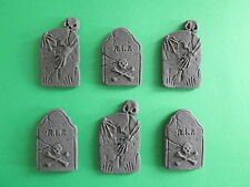 6 Handmade Edible Sugar paste TOMB STONE Cupcake Toppers - HALLOWEEN
