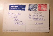 Matterhorn Switzerland To Singapore 1957 65 Rappen Airmail Rate Postcard