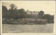 Windemere UK Belsfield Hotel & Boats in Harbor c1910 Real Photo Postcard