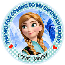Personalised Frozen Princess Anna Round  50mm Stickers Party Thank You Seals
