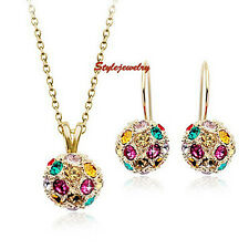 Gold Filled Multicolor Swarovski Crystal Ball Necklace Earring Wedding Set XS22