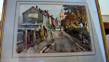 (2) Pair julien brosius listed art french impressionist 1940s Rare Watercolor