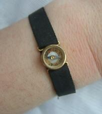 Rare Victorian Black Grosgrain MOURNING Ribbon Bracelet with COMPASS