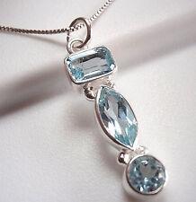 Blue Topaz Triple-Gem 925 Sterling Silver Pendant Corona Sun Jewelry