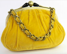 J.Crew Art Deco Retro Evening Chain Strap Yellow Velvet Hand Bag Purse 88413 EUC