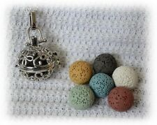 Curly Essential Oil Aromatherapy Diffuser Necklace with 6 lava stones!