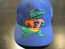 VINTAGE Florida Gators Big Logo Snap Back Hat Cap Blue UF University Block Head