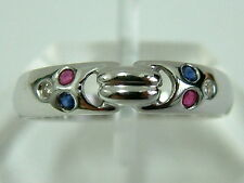 SWEET LADIES 18CT WHITE GOLD BAND STYLE RING WITH SAPPHIRE/RUBY/DIAMOND