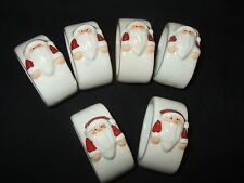 Set Of 6 x New Pottery Christmas Napkin Holders With A Santa  Design