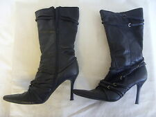 Ladies boots - Koi Couture, size 7, black, synthetic, mid calf, used - 3332