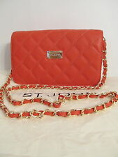 NEW ST JOHN KNIT WOMENS  RED POPPY QUILTED LOGO CHAIN SHOULDER BAG LEATHER PURSE
