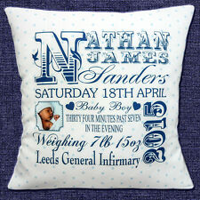 PERSONALISED BIRTH ANNOUNCE Name Date Time Weight PHOTO 40.6cm Pillow Cushion