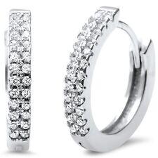 Elegant Round CZ .925 Sterling Silver Hoop Huggie Earrings
