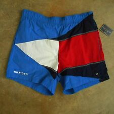Men's New Old Stock TOMMY HILFIGER Shorts Trunks Sz LARGE Color Block Flag Nylon