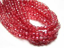 4mm Satin Sherbert Czech Glass Firepolished Round Beads (50) #880