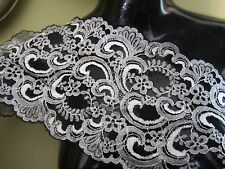 "7""   **Scallop Edge - Floral** Stretch Lace Trim BTY  **STUNNING** BLACK SILVER"