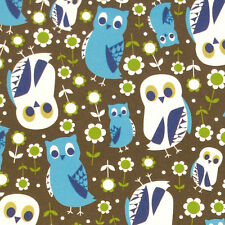 "KOKKA ""TREFLE"" OWLS Brown oxford by 1/2 yard Japanese import"