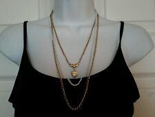 Vintage citation gold tone white 3 chain necklace heart locket pendant charm