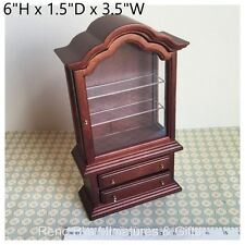 Dollhouse miniature Furniture 1:12 Glenowen Curio Cabinet  Mahogany NEW