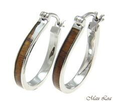 Koa Wood Hawaiian Rhodium Plated Brass 20x26mm Oval Hoop Snap Closure Earrings